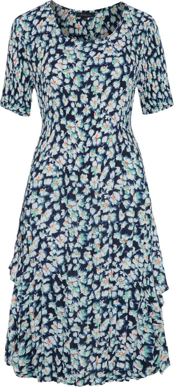 Pleated Dress, Wedding Guest, Special Occasion, Mother Of The Bride | Groom, Blue Floral Print