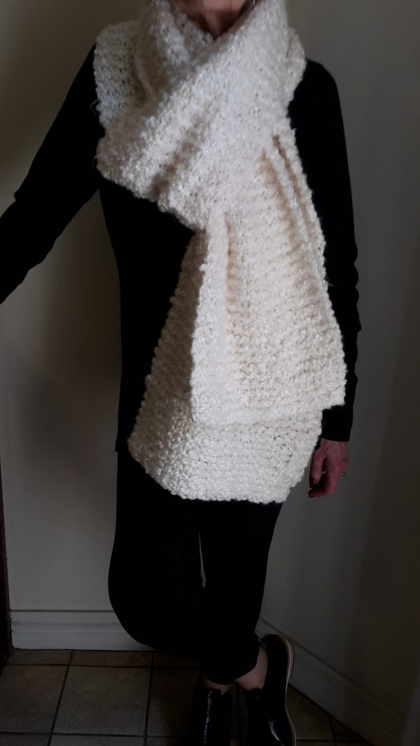 Pure Textured Feather Light Hand Crafted Scarf in Diamond White