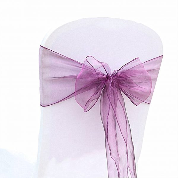 Purple Organza Chair Sashes Bows Ties Ribbon Engagement Wedding Birthday Baby Shower Christening Party Venue Decoration From 100Pcs