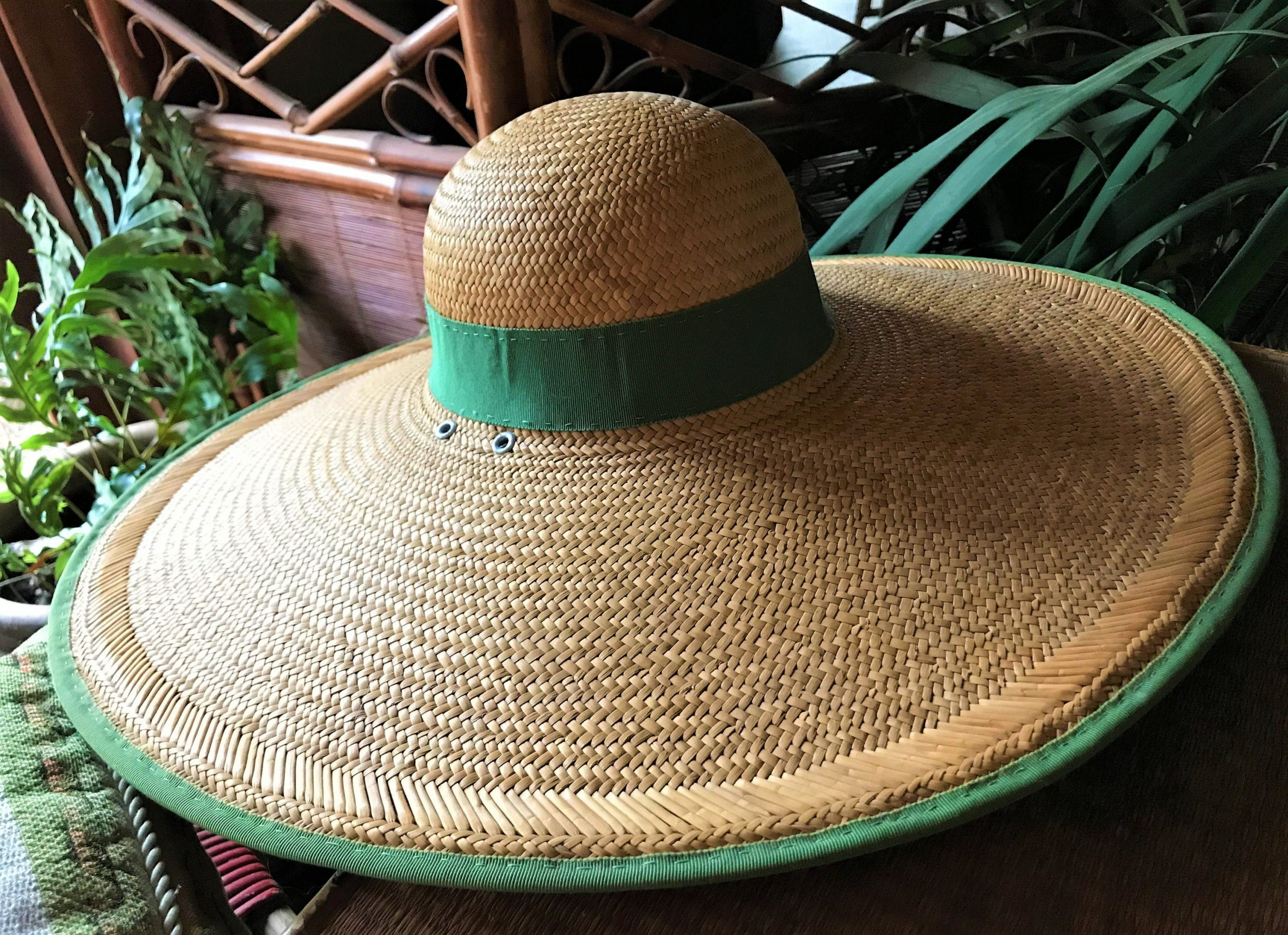 Vintage 1950's Straw Hat Wide Brim Rigid Woven Construction Small/6-7 New Deadstock