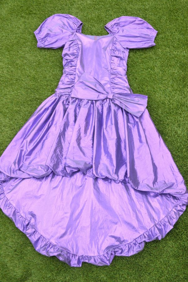Vintage 80S Metalic Purple Prom Dress, Large Bow, Bridesmaid Prom Queen, Retro Size Small