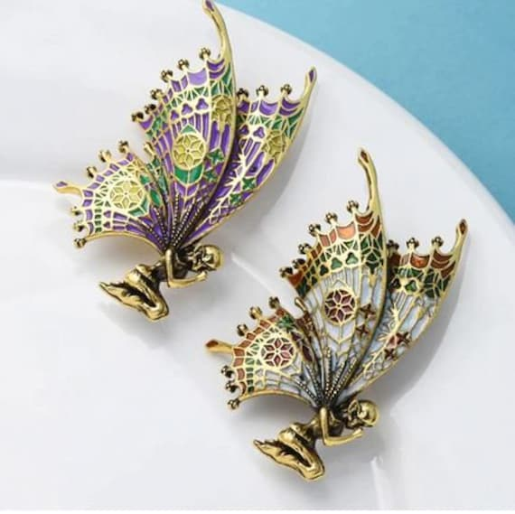 Vintage Butterfly Wings Fairy Brooches, Quality Enamel Women Brooch Pins, 2 Colors, Angel Designer Jewelry Gift