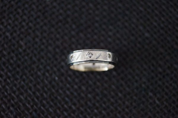 Vintage Sterling Silver & 9 Ct Gold Eternity Ring Wedding Band - Size K 1/2 Or 5