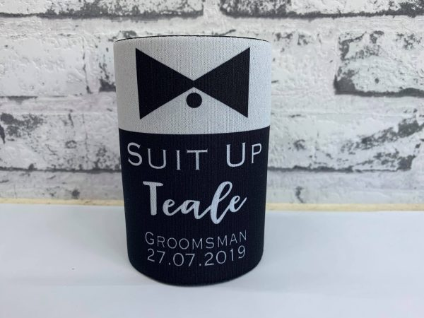 Wedding Party Stubby Holder - Suit Up, Personalised Stubby Holder, Groom, Groomsman Coolers, Free Shipping