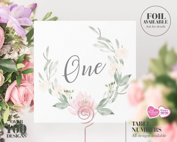 Wedding Table Number, Numbers, Breakfast Names, Cheap Decor, Floral, Pastel, Blush
