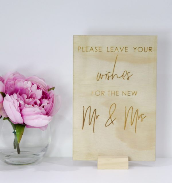 Well Wishes Sign, Wedding Wooden Rustic Laser Engraved Plywood, Mr & Mrs Decor