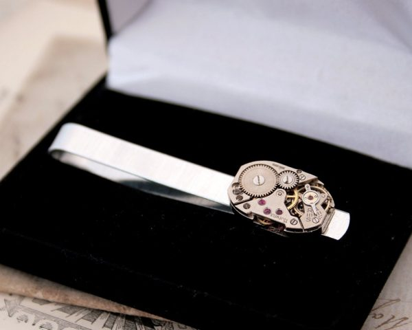 steampunk Tie Clip Anniversary Gift For Husband, Silver Watch Movement Bar Wedding Gifts For Men