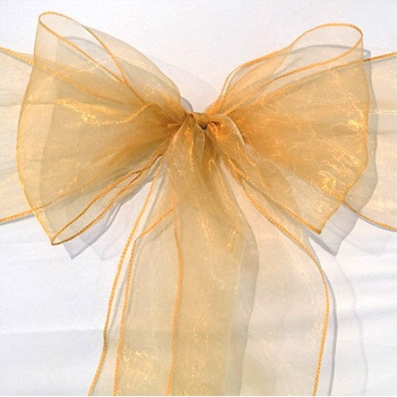 25-150 Gold Organza Chair Sashes Bows Tie Ribbon Wedding Banquet Ceremony Feast 1st Birthday Engagement Baby Shower Party Venue Decoration