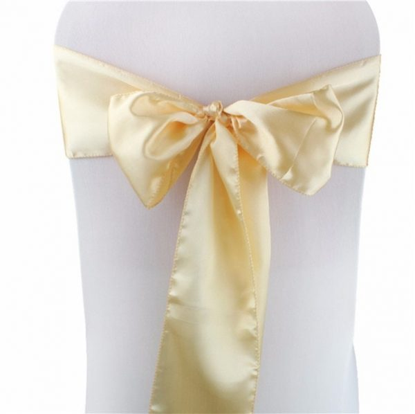 25-200Pcs Champagne Satin Chair Sashes Bows Ties Ribbon Table Runners Wedding Engagement Birthday Party Reception Ceremony Decoration
