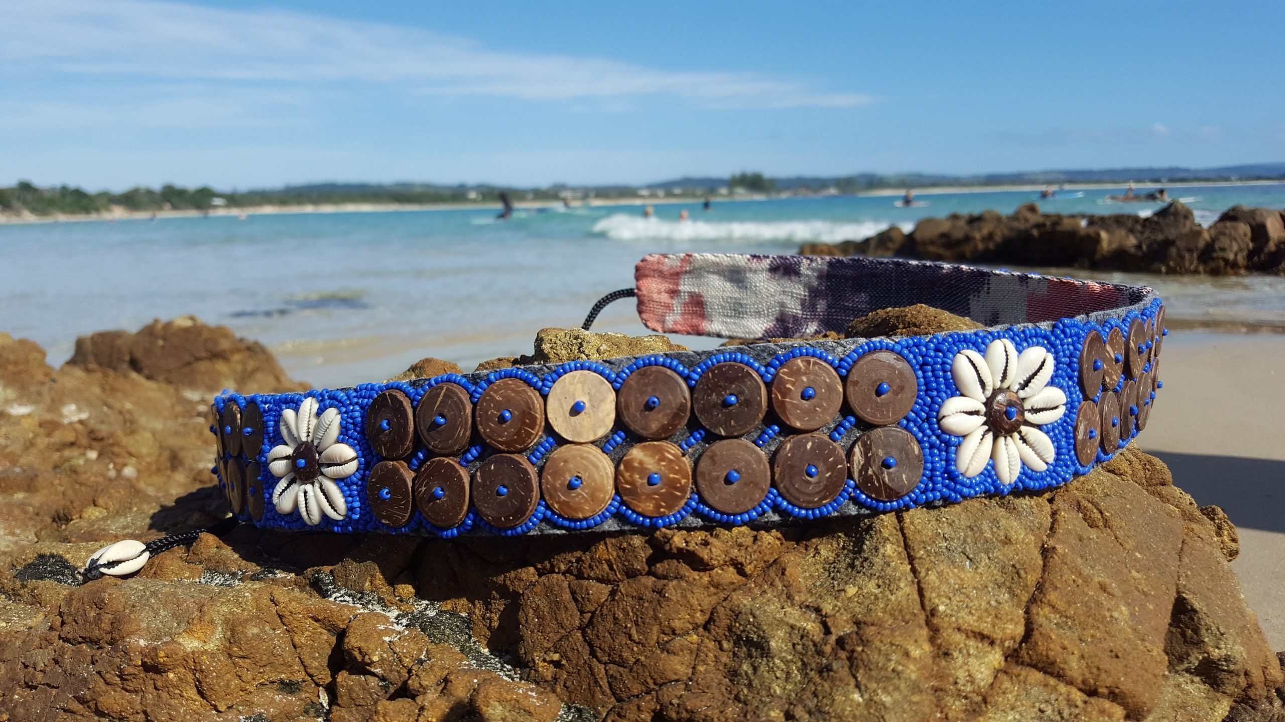 Cowrie Shell Flower Belt With Coconut Buttons, Handmade