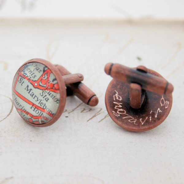 Custom Map Location Copper Cuff Link I Personalized 7Th Wedding Anniversary Gifts For Husband