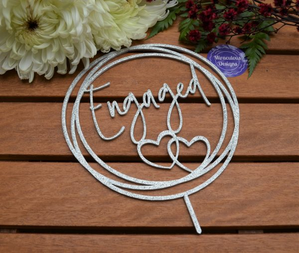 Engagement Ring Hearts Cake Topper - Wedding
