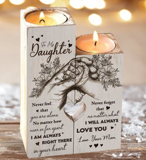 From Mom To Daughter Pair Candle Holder Gift Mom For Christmas Mother's Day Valentine Birthday College Graduation Wedding