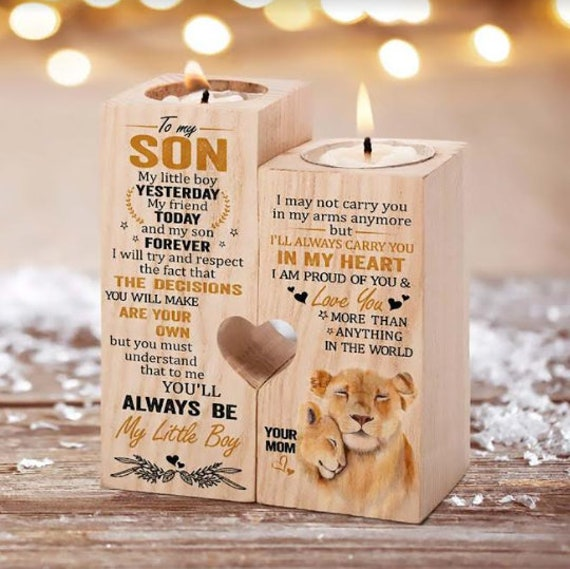 From Mom To Son Pair Candle Holder Gift For Xmas Father's Day Birthday Wedding Valentine College Graduation Mom Christmas