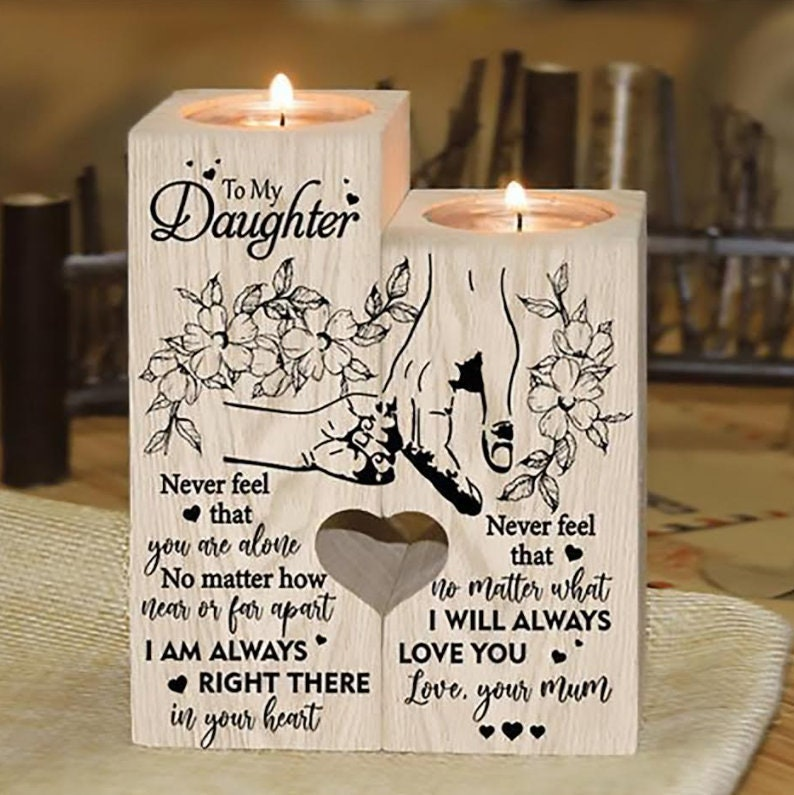 From Mum To Daughter Candle Holder Gift For Christmas Birthday Wedding School College Graduation Mother's Day Mum