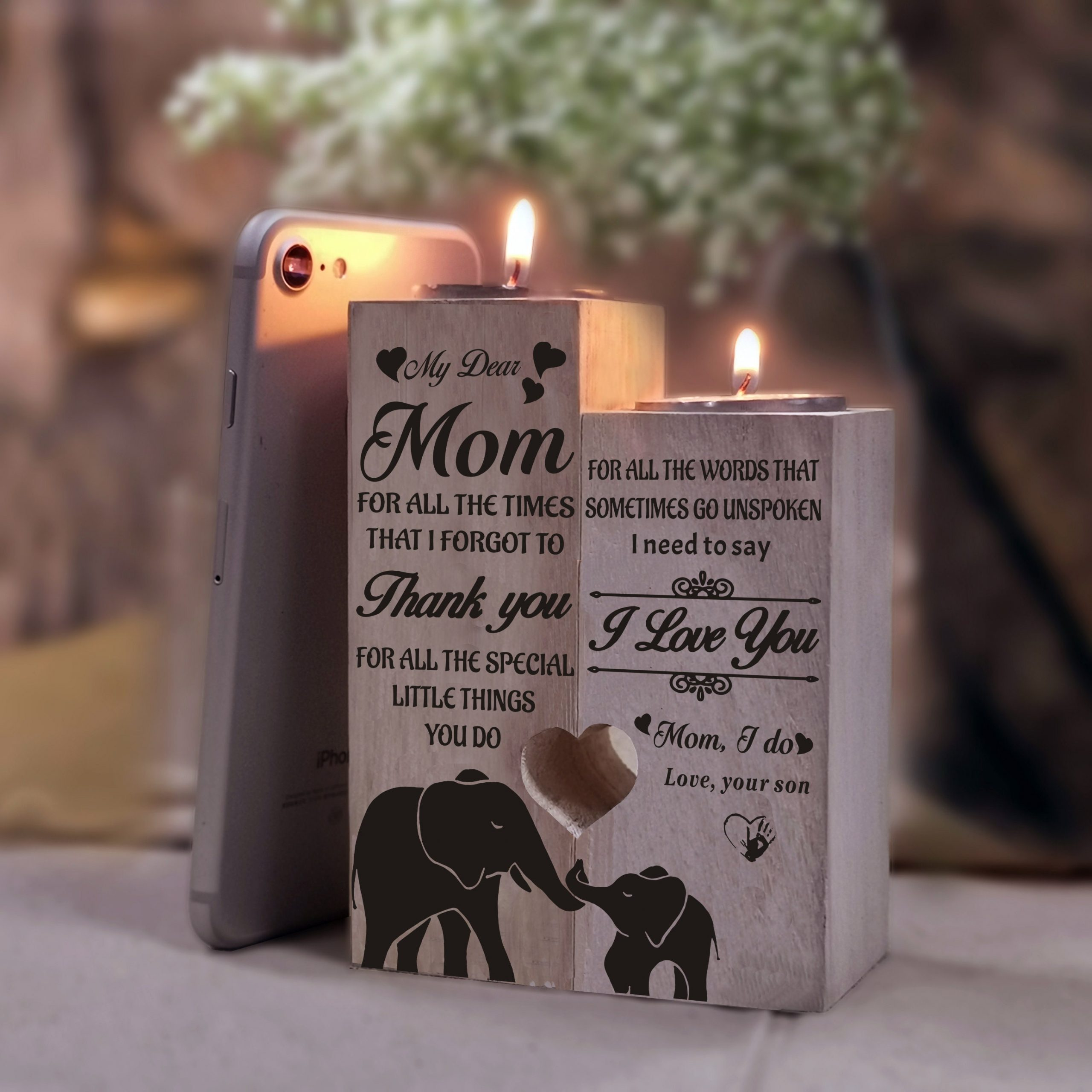 From Son Mother's Day 2021 To Mom Candle Holder Gift Son For Mother Birthday Christmas Wedding Xmas