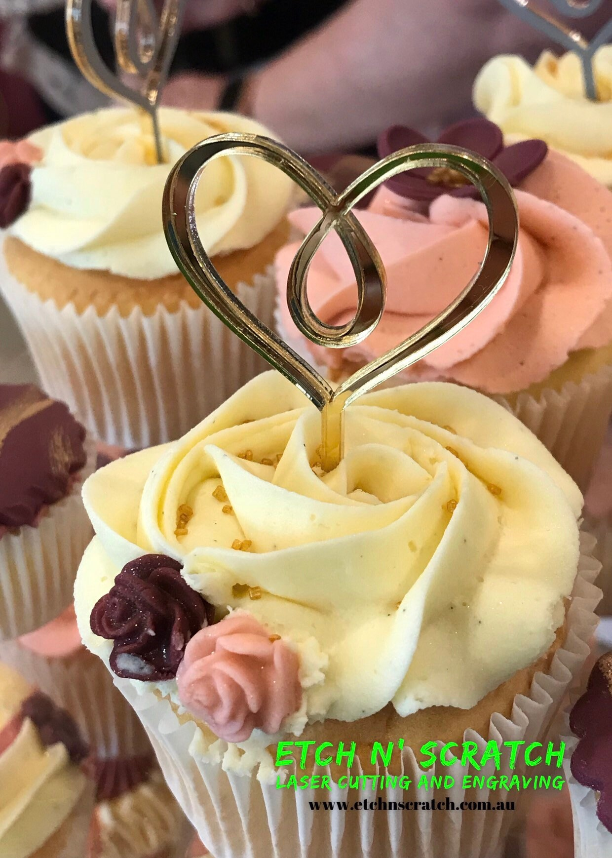 Laser Cut Heart Mirror Acrylic Cupcake Toppers For Small Cakes Or Cup Cakes