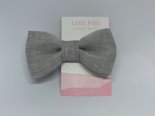 Light Grey 100% Linen Fabric Children's Clip On Bow Tie, Double Layered, Kids Ties, Linen, Fabric, On, Accessories