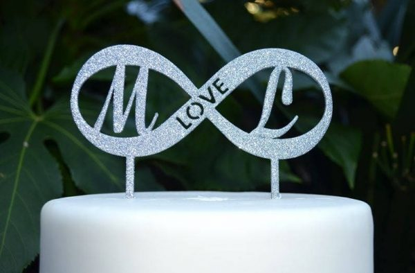 Love & Infinity Cake Topper - Wedding Custom Initials Personalized Name