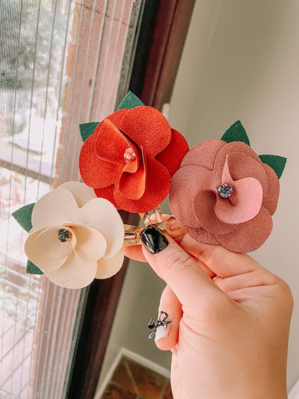 Oversized Floral Hair Clip, Genuine Suede, Christmas Clips, Wedding Bridesmaid Accessory, Gift, Gift For Wife