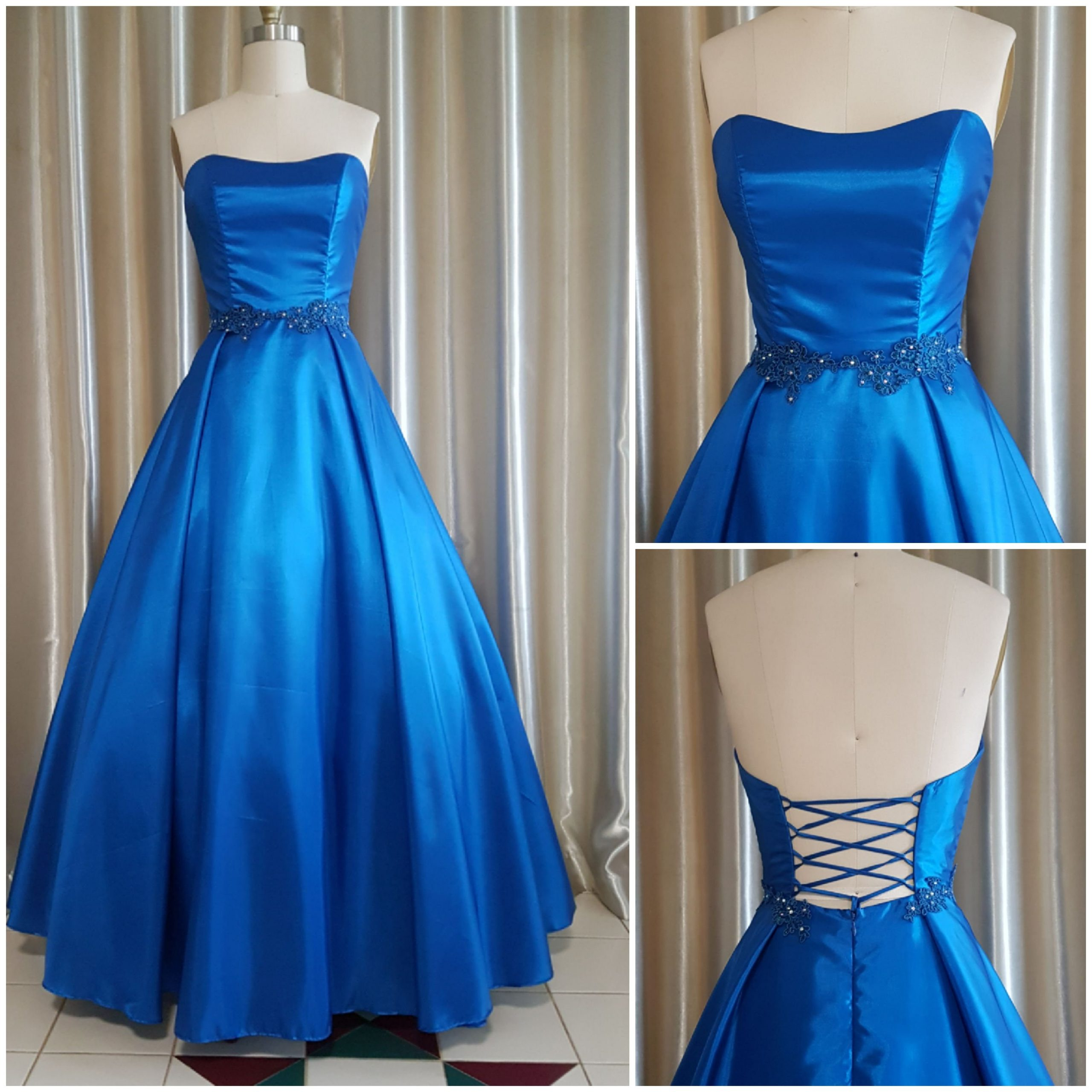 Princess Royal Blue Silk Looks Dress Size 8-10 Waist 29-30 Made in Australia By Nate Free Shipping-Available Red 100% Mulberry