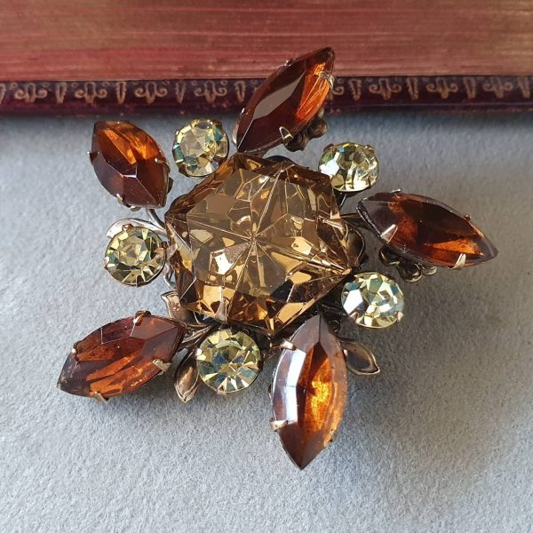 Stunning Vintage 1960's Snowflake Bronze Tone Brooch; Marquise Cognac & Citrine Rhinestones; Statement Piece; Cocktail Party Bling