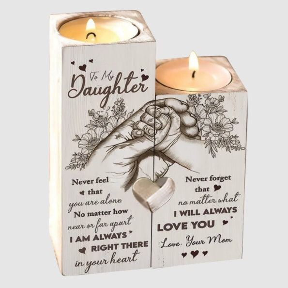 To Daughter Pair Candle Holder Gift From Mom For Xmas Birthday Wedding Mother's Day Graduation Christmas