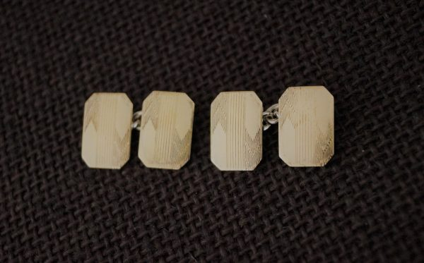 Vintage Gold Plate Cufflinks - Cuff Links 9Ct Gold On Silver Links Present For Groom Antique Wedding