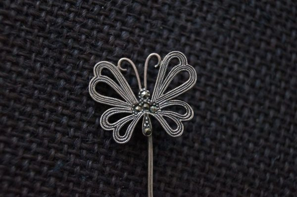 Vintage Sterling Silver Marcasite Butterfly Pin - Brooch Stick Tie