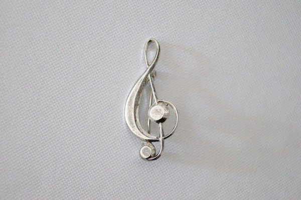 Vintage Sterling Silver Treble Clef Brooch - 1997 Music Pin