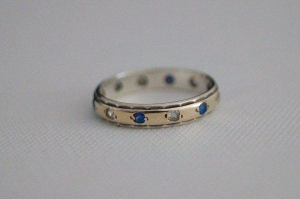 Vintage Sterling Silver & 9 Ct Gold Eternity Ring Wedding Band - L Or 6