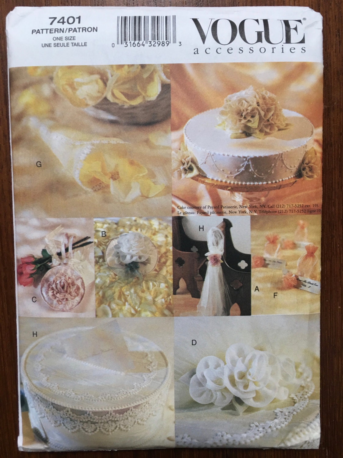 Vogue Sewing Pattern 7401 Bridal Accessories Uncut & Factory Folded